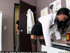 Big tit brunette milf doctor gives blowjob with lingerie.