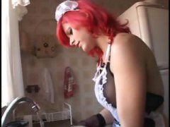 Shemale cinzia in a maid's outfit gets his ass plugged hard