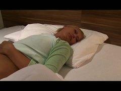 Blonde sleeping daughter