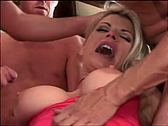 Blonde in gangbang action