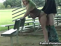 Naughty blonde sarah jackson has public sex by the bleachers