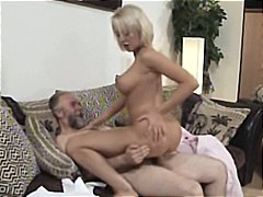 Mature blonde mandy dee bounces her big tits as she gets fucked by old dude