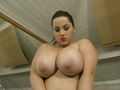 Chubby big tits play with herself then gets cream whipped