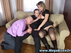 Guy and girl share cock