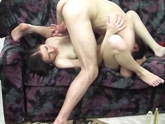 Brunette whore drinks piss after 69ning and fucking her man