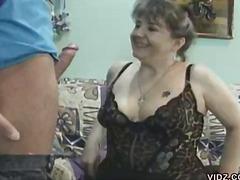 Granny karoline took advantage of repairman