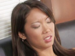 Super-sexy asian lezzie mastering her carpet munching and toying skills