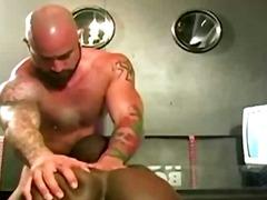 White beefy guy drills black guys ass
