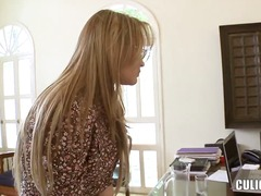Tempting blonde secretary karen takes off