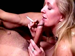 Chesty blond smoker hoe dia zerva gives throat