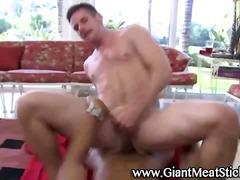 Gay hunk takes cock fucking