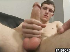 Straight hunk tugging on his cock for some money