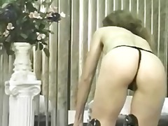 Sexy brunette strips and gets off with toys