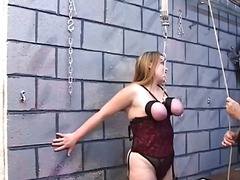 Dd bondaged blonde slave is released from trunk and bound to the ceiling