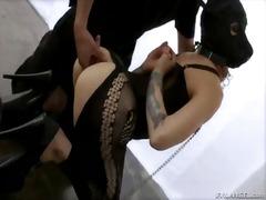 A brutal master disciplines his foolish slave