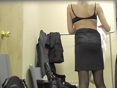 Stockings and pantyhose girls in the changing room