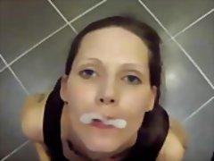 Bukkake loving cum fetish slut