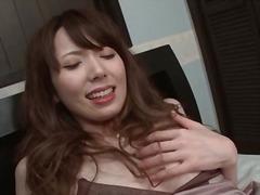 Japanese girl in satin lingerie masturbates