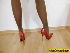 Slender blondhaired full in nylons