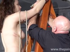 Kinky beauvoirs dungeon preparation and tied hand