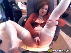 Beautiful mature masturbating with dildo on webcam