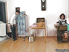Lonely granny takes his horny cock