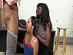 Black and white girl takes a big black cock