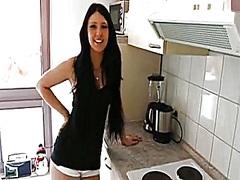 German non-professional gorgeous darkened-hair - kitchen quickie